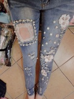 Luxurious beading flower sparkling diamond sexy cutout lace patchwork distrressed slim skinny jeans female