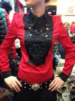 2014 spring stunning cutout diamond turn-down collar shirt female pads T-shirt long-sleeve top female