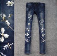 2014 spring personality flower pattern rhinestones elastic slim skinny jeans female