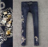Little duck embossed rhinestones elastic slim skinny jeans female