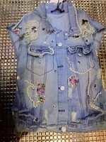 2014 spring and autumn all-match personality handmade sparkling diamond beading hole denim outerwear vest
