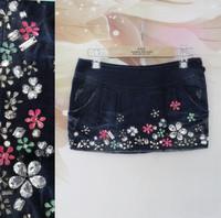 Personalized handmade diamond flower denim short skirt female