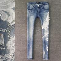 Lace senior diamond fashion elastic slim skinny jeans female