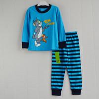 Retail freeship 2-7yrs 100% cotton long sleeve tom and jerry kids pajama sets boys clothing set pijamas kids pajamas