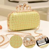 Women evening clutch small Handbag 2014 Ring Bag Clutch PU Leathe  Lady designer Skulls Clutch Evening Bag r 5 colors