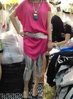 Elegant strapless silk cupro top chiffon twinset with belt