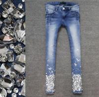 High quality elegant sexy bling rhinestones elastic 9 slim skinny jeans pants female