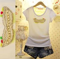 Fashion handmade chain sweet perspectivity lycra cotton slim t-shirt top