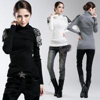 2014 spring women's beading decoration elastic slim sweater turtleneck long-sleeve pullover sweater