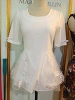 Three-dimensional flower organza puff skirt bow chiffon shirt top