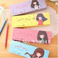 Korea stationery girl single tier pencil carton stationery box long box storage school office supplies mutil color free shipping