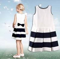2014 new fashion European style summer girl white striped bow knot vest dress kids girls one-piece brand designer brief dress