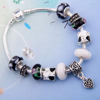 European 925 Silver Charm Snake Bracelet & Bangle for Women With Black Glass Beads Bijouterie PA1086