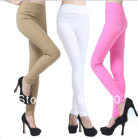 Womens pants New Fashion 2014 Summer Spring Color Candy Sport High Waist Pencil Pants & Capris Leggings Nine Points Trousers
