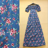 2014 fashion vintage elegant full print dress ladies slit neckline dress one-piece dress