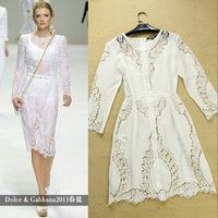 Fashion 2014 cutout crochet embroidery elegant twinset one-piece dress Casual Dress