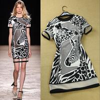 Fashion 2014 ruslana korshunova zebra print gauze patchwork fashion personality one-piece dress