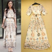 Fashion 2014 sweet ruslana korshunova abstract print sleeve length one-piece dress