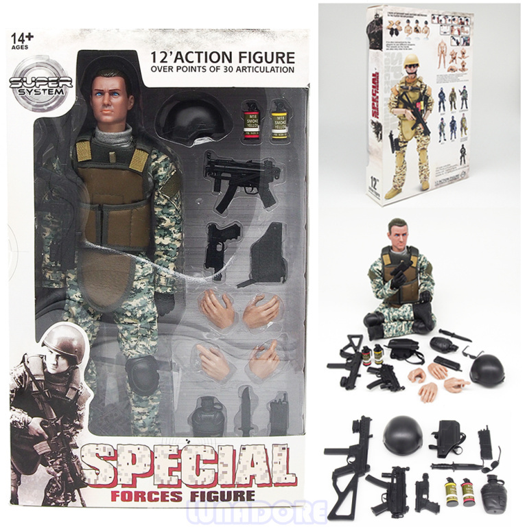 Child/Boys Christmas Gift 1:6 Special Force Soldier Set 12 Military Action Figure With Rifle Accessories Super System SWAT/SDU(China (Mainland))