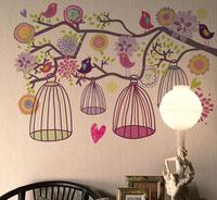70*100cm 1 Piece Popular Colorful Tree & Bird Cage Wall Stickers&Fashion DIY Decoration Wall Art Home Decor Vinyl