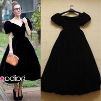 2014 fashion elegant vintage slim Dress evening dress sexy velvet dress one-piece dress