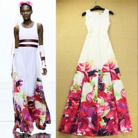 2014 summer fashion bohemia flower full dress beach one-piece dress Casual Dress