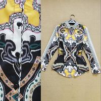 2014 summer fashion vintage turn-down collar chain irregular print basic shirt female shirt