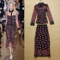 2014 summer women's fashion organza embroidery shirt half-skirt twinset