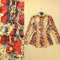 2014 Fashion spring and summer women's vintage serpentine pattern print shirt female slim elegant shirt