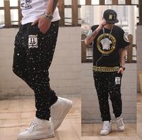 CR-15 Fashion painted Harlem Casual Hip hop sweat pants Plus size Sports Mens Joggers sweatpants Jogging Baggy pants men