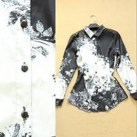 2014 spring and summer women's fashion elegant rose print fashion turn-down collar shirt women's shirt