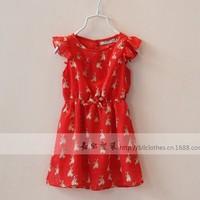 New arrival wholesale 6pcs/lot fashion summer baby chiffon dress cute kids girl animal rabbit dress princess falbala dress