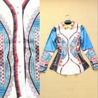 2014 spring women's fashion plaid collar long-sleeve shirt formal shirt female print