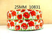 50Y10831 kerryribbon freeshipping 1'' flowers pattern printed ribbon Grosgrain ribbon diy packing headwear garment accessoires