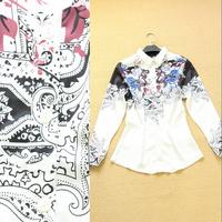 Fashion 2014 spring and summer digital print slim women's shirt female shirt