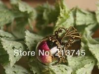 Free ship!!! Fashion 20sets half 15mm glass globe globe & bronze ring base set DIY glass cover  vial pendant glass bottle