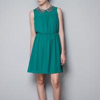 2014 Spring Summer Women Fashion Denim Casual Novelty Party Club Elegant Dresses Saias Dress Peter Pan Collar Vestidos CB04035
