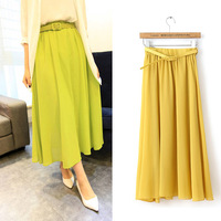 2014 New Arrival Tops Fashion Spring Summer Autumn fresh candy color chiffon bust skirt full with belt Casual Skrits