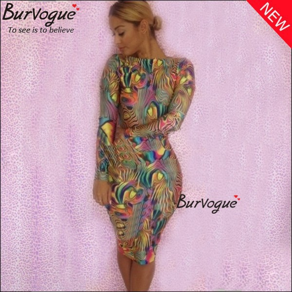 2014 Free Shipping Sexy Women Bandage Party Dresses Summer Colorful Evening Wear Dresses Night Club Long-sleeve Bodycon Dress(China (Mainland))