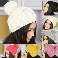 2014 Fashion Style Ladies Women Winter Warm Ski Bobble Pom Cable Knit Knitted Hat Cap Beanie 7 Color Free Shipping