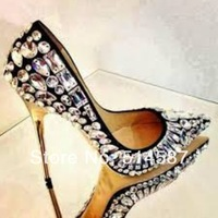 New Arrival High Quality Pointy-Toe Jewel Pump High Heels Shoes Women