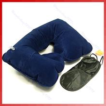 A96 El envío gratuito Cojín Viajes de aire del cuello máscara Pillow + ojo Plug + 2 Oído(China (Mainland))