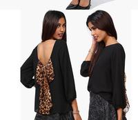 2014 New arrival! European American Women's Fashion Leopard Chiffon Back Bow Halter Loose Shirt top S-XXL Free Shipping.