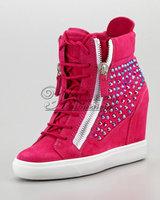 Elevator women's shoes high-top shoes rivet platform shoes fashion star style