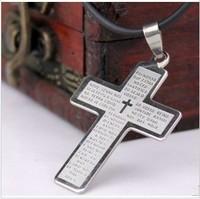 Cross pendant male titanium steel necklace boys necklace girls necklace b22