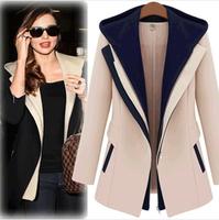 Fashion Street Jackets Women 2014 Spring Winter Slim Faux Two Piece With Hood Casaco Patchwork Blazer Casual Female Coats WAQIA