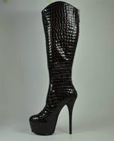 16cm ultra high heels serpentine pattern genuine leather high-leg boots boots