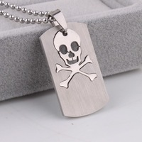 Non-mainstream personality fashion brief skull titanium steel necklace stainless steel pendant