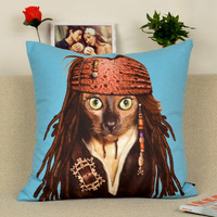 Cartoon Pirate Dog  Printed Decoration Cushion Fine Car Covers Ikea Soft Pillow Cover Free Shipping (Not Include Pillow) 3119