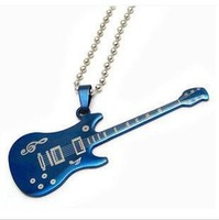 Accessories guitar necklace titanium steel necklace men and women accessories pendant lovers stainless steel necklace